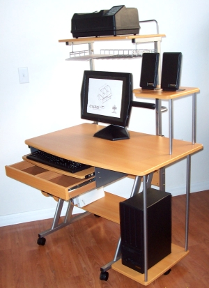 40 inch compact computer desk with drawer and hutch printer shelf