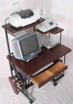 40 inch narrow mobile compact computer desk and workstation with drawer, hutch printer shelf and botom shelf