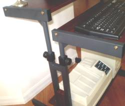 narrow portable computer cart in dark cherry color