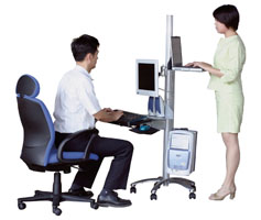 LCD mount flat panel monitor pole mount cart used by 2 individuals as portable computer workstation
