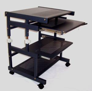 all metal height adjustable computer cart