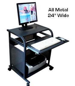 24 inch narrow black all metal computer cart. Portable small mobile computer desk made 100% in metal. Powder coated black steel computer cart workstation.