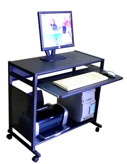 All-metal 32 inch wide steel computer desk. Compact all steel mobile computer cart. Small, narrow metal computer laptop cart. Black computer desk; All steel; sturdy & portable. Narrow.