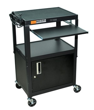 All Steel Mobile Sit Stand Portable Rolling Computer Workstation With  Lockable Cabinet, Keyboard Tray,