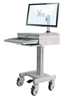 height adjustable sit and stand medical computer and laptop desk with lockable laptop drawer. Sit or stand computer desk