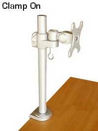 LCD monitor desk stand; Clamp on to desk or table; height adjustable; pole mounted LCD flat panel VESA bracket;Single LCD screen monitor desk stand, mount & bracket.
