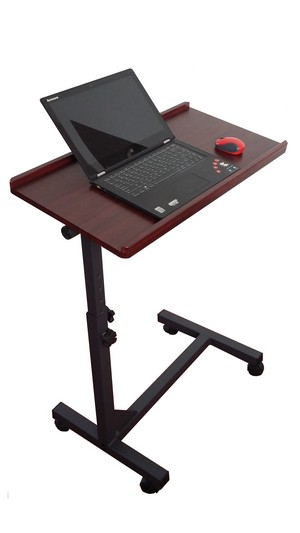 Rolling Adjustable Laptop Mobile Standing Computer Desk Table Stand-up Tray