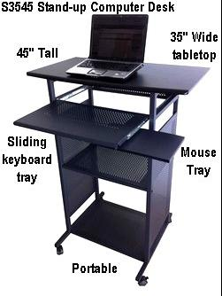 35 inch wide stand up computer desk. Portable, black, 100% steel shelves & frames with MDF wood tabletop covered in PVC. A rolling standing computer worksation cart to relax the back!