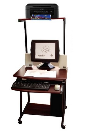 STAK49 compact mobile computer desk cart with tower printer shelf, keyboard shelf 7 bottom CPU shelf.