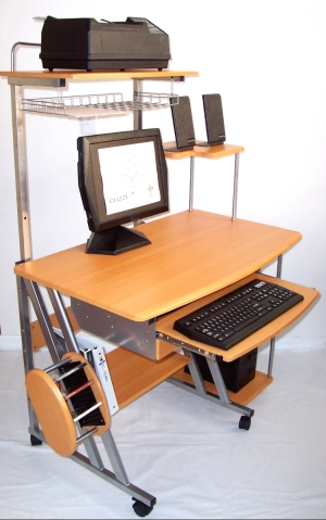 40 inch compact computer desk with drawer and hutch printer shelf, in red beech wood color with black frames