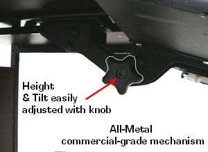 all steel adjustable keyboard shelf with mouse tray - tilt and height adjustment knob