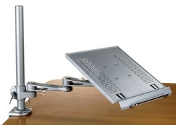 laptop keyboard tray combo articulated arm and tray for clamp=on desk or wall mounting