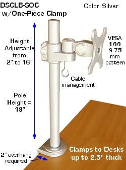 lcd monitor clamp-on desk stand; pole mounted lcd vesa bracket; height adjustable lcd mount bracket; tilt, swivel & rotate
