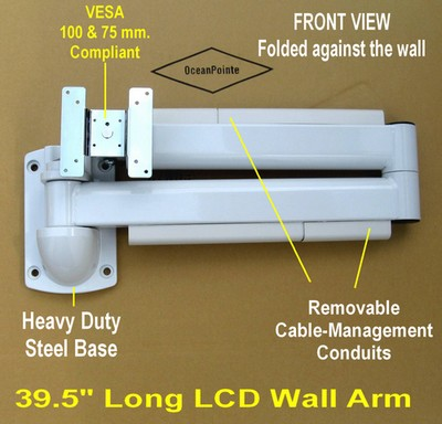 articulating hospital bed lcd monitor wall arm white