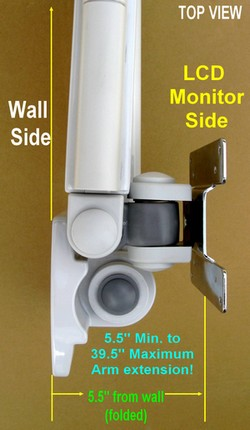foldable lcd wall mount hospital monitor arm - white