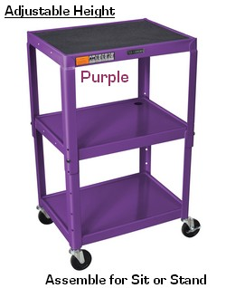 24 inch steel adjustable height computer cart; 3 shelves, all steel mobile utility computer desk