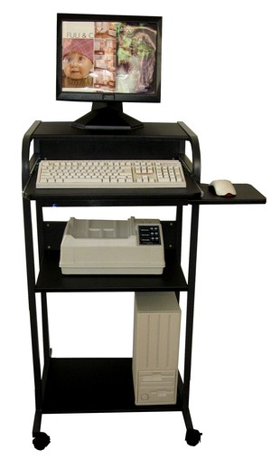 stand-up black ergonomic mobile computer desk