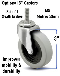 3 inch metric caster for desk, table, computer desk furniture, stem M8 x 22 mm