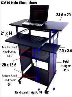 image of 35 inch wide stand up computer desk for using a computer in standing position. All black stand up computerdesk