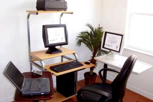 small computer desk with tower printer shelf