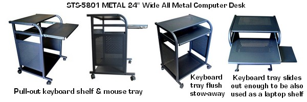 black steel compact computer desk and cart; narrow, small computer desk in black; 100 made of steel
